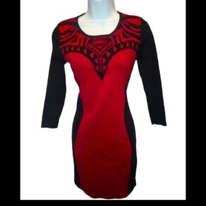 Seductions black and red long sleeve dress
